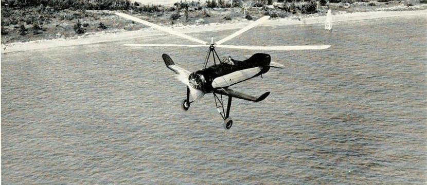Autogyro Flying Over Beach